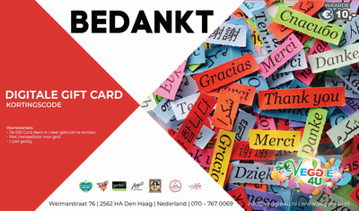Veggie 4U Digitale Gift Card Bedankt € 10,-