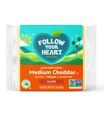 Follow Your Heart Medium Cheddar slices 200g *THT 16.04.2022* KOELPRODUCT