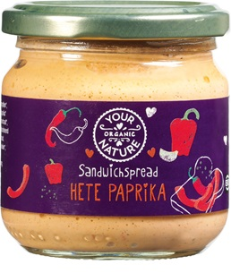 Your Organic Nature Sandwichspread hete paprika 180g