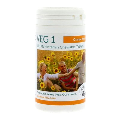 The Vegan Society VEG 1 Multivitamin ORANGE Kauwtabletten 180 stuks