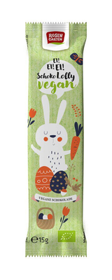 Rosengarten Paashaas Organic Chocolate lolly, groen 15g