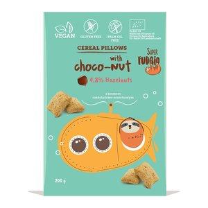 Super Fudgio Organic Gluten Free Cereal Pillows Filled with Chocolate Hazelnut Cream 200g