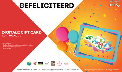 Veggie 4U Digitale Gift Card Gefeliciteerd € 15,-