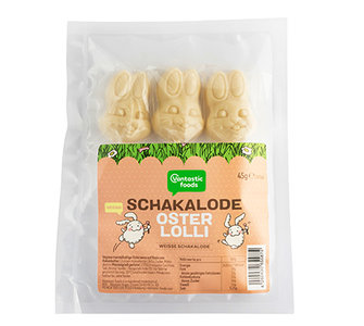 Vantastic foods WHITE SCHAKALODE Easter lolly bunnies 45g